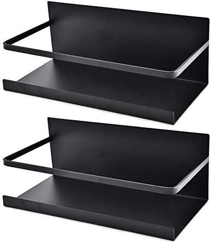 Roysili Magnetic Spice Rack Refrigerator Spice Rack Single Tier Fridge Spice Rack Magnetic Shelf Space Saving Black 2 Pack