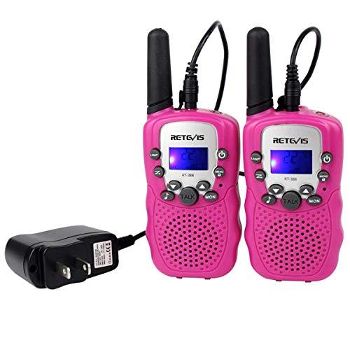Retevis RT-388 Kids Walkie Talkies Rechargeable FRS Toy Gift 22 Channel Walkie Talkies for Kids (Pink,1 Pair)