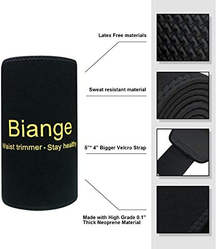 Biange Waist Trimmer for Women & Men Sweat Waist Trainer Slimming Belt, Stomach Wraps for Weight Loss, Neoprene Ab Belt Low Back and Lumbar Support 5