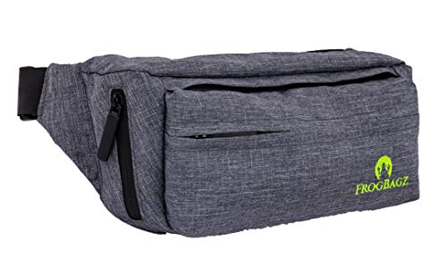 Frog Bagz - Travel Fanny Pack, Gray with Waterproof Polyester and Zippers for All-Weather Protection, Waist Pack Designed for Men and Women, Adjustable Strap 20 Inches to 50 Inches with 4 Pockets