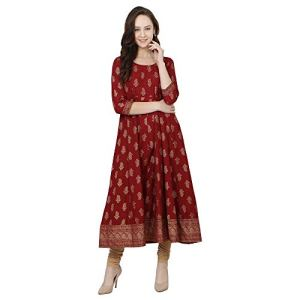 Women's Gold Print Maroon Anarkali Dress