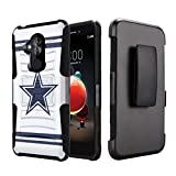 Capsule Case Compatible with T-Mobile Revvl 2 Plus, Alcatel 7 Folio, Alcatel 7 (2018) Metro PCS [Kickstand Holster Combo Heavy Duty Protection Case Black] - (Cowboy)