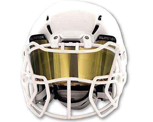 EliteTek Color Football & Lacrosse Eye-Shield Facemask Visor - Fits Youth & Adult Helmets (Black Gold Smoked)