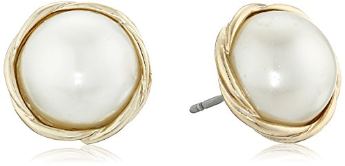 41SkqcrCdTL Stud earrings featuring faux-pearl rounds in twisted gold-tone frames Bullet-clutch-with-disc backings Imported