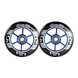 GRAVITI One Pair 100mm Pro Stunt Scooter Wheels with ABEC-9 Bearings CNC Metal Core (2pcs) (Blue)