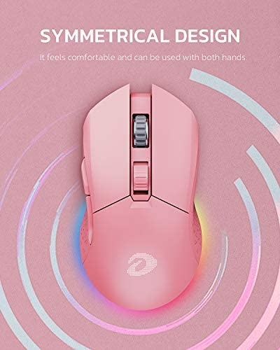 DAREU Wireless Pink Gaming Mouse with 7 Programmable Buttons, Rechargeable RGB Gaming Mice [10000DPI] [150IPS] [1000Hz Polling Rate], Type C RGB Wired Mouse Gaming for PC and Notebook (Pink)