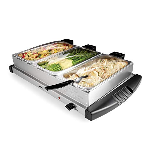 Oster Buffet Server Warming Tray   Triple Tray, 2.5 Quart, Stainless Steel
