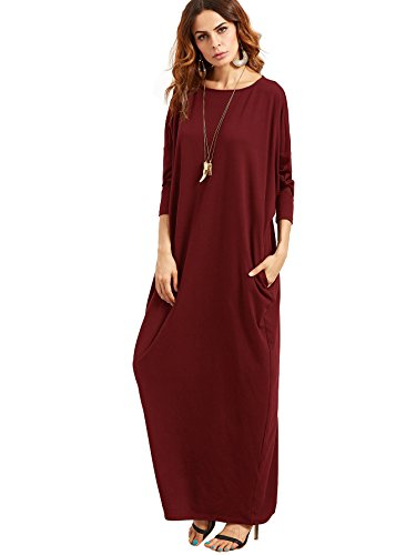 Verdusa Women\'s Casual Long Sleeve Oversized Loose Pocket Plus Size Maxi  Dress - Return Crusade