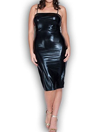 845 – Plus Size Shoulder Strap PVC Faux Stretchy Leather Club Dress ...