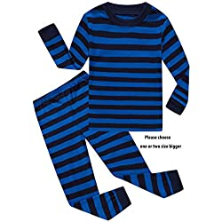 Family Feeling Little Boys Striped Pajamas Sets 100% Cotton Sleepwears Toddler Kids Pjs Size 4T