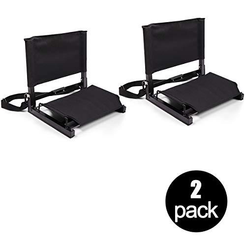 Tobbi 2PCS Lightweight Stadium Chair Wide Black Bleacher Seat Durable Padded Seat with Back