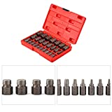 Extractor Set, Multi Spline Screw Extractor Set 25pcs Spiral Designed Tools for Studs Bolts Removal (Red)