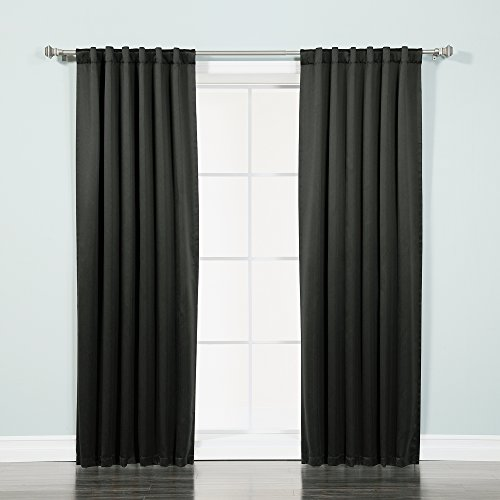"Best Home Fashion Thermal Insulated Blackout Curtains - Back Tab/ Rod Pocket - Black - 52""W x 84""L - (Set of 2 Panels)"