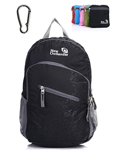 Outlander Packable Handy Lightweight Travel Hiking Backpack Daypack, Black