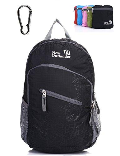 Outlander Packable Handy Lightweight Travel Hiking Backpack Daypack, Black