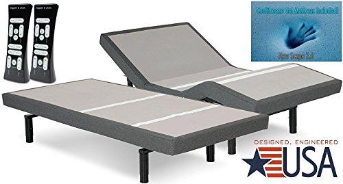 DynastyMattress Split King 12-Inch CoolBreeze GEL Memory Foam Mattress with SCape 2.0 Performance Adjustable Beds Set Sleep System Leggett & Platt-SPLIT KING w/SETUP