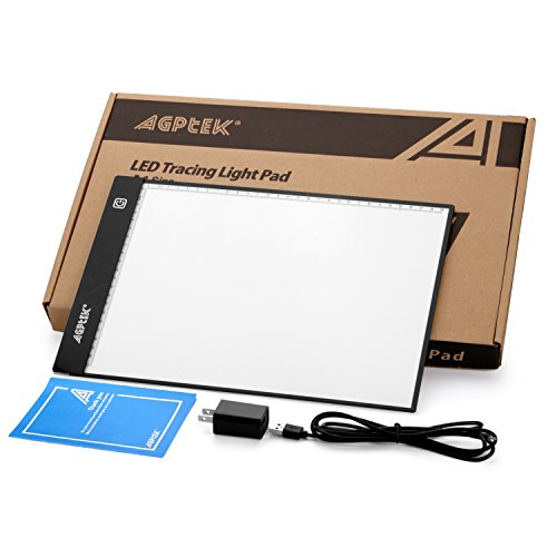Fixm A4 Light Box, LED Artcraft Tracing Light Pad Ultra-Thin USB Power Cable Dimmable Brightness Tatoo Pad Animation, Sketching, Designing, Stencilling X-ray Viewing W/USB Adapter