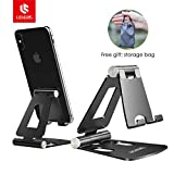 Adjustable Cell Phone Stand, licheers Multi-Angle Cell Phone Holder, Cradle, Dock, Stand Compatible with iPhone Xs Max XR 8 7 6 6s Plus, Android,Samsung,Kindle,Used for Desk, Table, Night Stand-Black