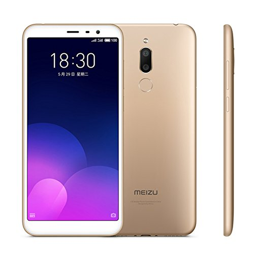 "Unlocked Smartphone Meizu M6T Meilan 6T 4GB + 32GB 5.7"" HD 720P Full Screen Octa Core Dual Rear Camera Fingerprint 4G LTE Cell Phone Mobile (Gold)"