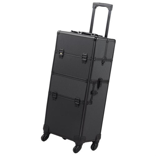 Koval Inc. 4-wheel Rolling 2in1 Makeup Train Cosmetic Case Black