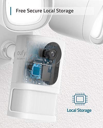 eufy Floodlight Cam, 1080p, 2-Way Audio, No Monthly Fees, 2500-Lumen Brightness, Weatherproof, HomeBase Not Compatible, (Existing Outdoor Wiring and Weatherproof Junction Box Required)
