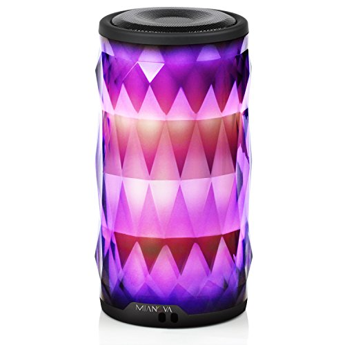 LED Bluetooth Speaker,Night Light Changing Wireless Speaker,MIANOVA Portable Wireless Bluetooth Speaker 6 Color LED Themes,Handsfree/Phone/PC/MicroSD/USB Disk/AUX-in/TWS Supported