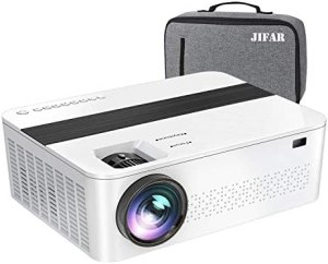 JIFAR Native 1920x 1080P Projector 9000 Lux Upgrade Full HD Projector 4K with 450″Display, Christmas Projector Support 4K Dolby Video & Zoom ,Compatible with TV Stick,HDMI,VGA.USB,Smartphone,PC