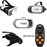 (NEWEST Version With Remote)3D VR Virtual Reality Glasses Headset with NFC tag for 3.5-6.0 Inch all brands of Mobiles Smartphones or notes, for 3D Video,Movies & Games