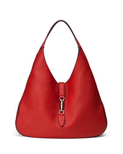 """Jackie Soft Leather Medium Hobo Bag, Red Single handle, 9.4"""" drop. Hand painted edges. 12.2""""H x 16.9""""W x 2.3""""D."""
