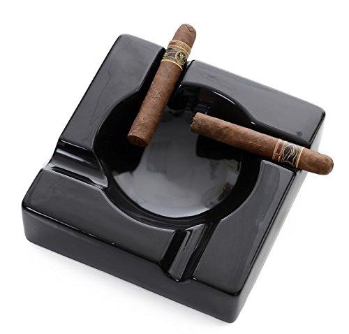 Mantello Cigars Large Black Ceramic Cigar Ashtray