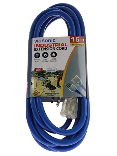 Viasonic Premium Outdoor Extension Cord UL listed - Super Heavy Duty & Durable - 12 Gauge - .15AMP-125V-1875W - Industrial Blue Cord, Premium Lighted Plug, by Unity (15 Ft)