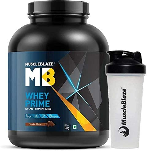 80%  MuscleBlaze Whey Protein Isolate (Chocolate, 2 Kg / 4.4 lb) With Shaker Free