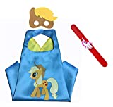 Raclove My Little Pony Costume Set-Cape, Mask and Pops Ring. for Age 4-10 Kids Boys and Girls. Wonderful Dressing up Gifts for Halloween Birthday Party Superhero Day and Play Day (Applejack)