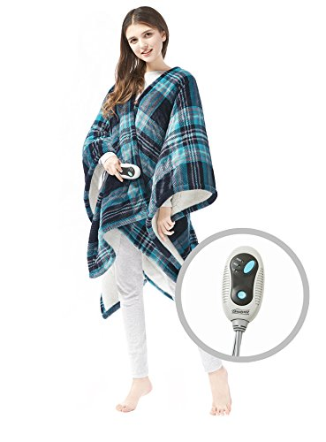 Beautyrest Ultra Soft Sherpa Berber Fleece Electric Poncho Wrap Blanket Heated Throw with Auto Shutoff, 50' W x 64' L, Aqua Plaid