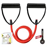 RitFit Single Resistance Exercise Band with Comfortable Handles - Ideal for Physical Therapy, Strength Training, Muscle Toning - Foam Padding Door Anchor and Starter Guide Included (Red(45-50lbs))