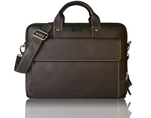 Leaderachi Black Genuine Leather 15 inch Laptop Messenger Briefcase Bag [ SAO Paulo ] Summer Sale Special