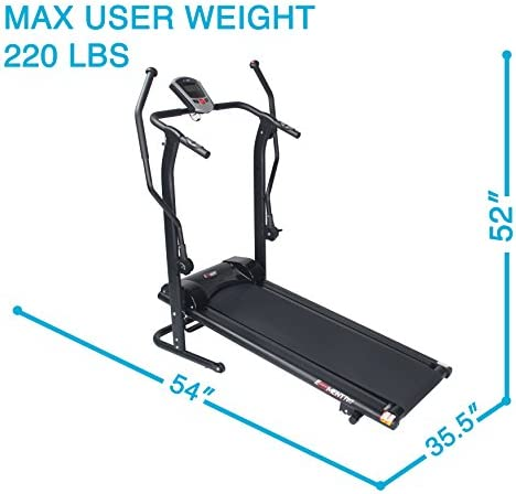 EFITMENT Adjustable Incline Magnetic Manual Treadmill w/Pulse Monitor 9