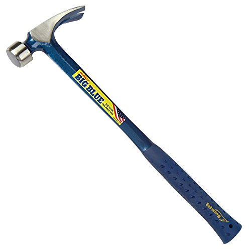 Estwing BIG BLUE Framing Hammer - 25 oz Straight Rip Claw with Forged Steel Construction & Shock Reduction Grip - E3-25SM