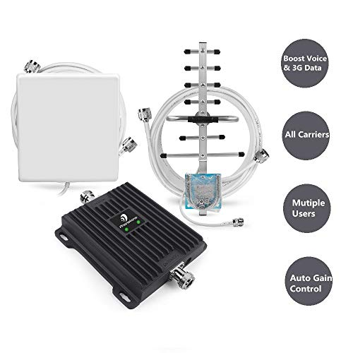Cell Phone Signal Booster for All Carriers GSM 3G Home and Office Use - Dual Band 850/1900MHz Band 2/5 Repeater with Panel/Yagi Antennas, Supports 4,500 Square Foot Area