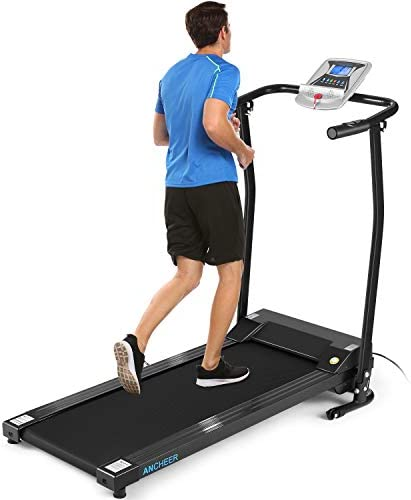 ANCHEER Folding Treadmill, Electric Motorized Treadmill with LCD Monitor, Walking Jogging Running Machine Trainer Equipment for Home & Office Workout Indoor Exercise Machine (Black) 1