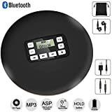 HOTT Portable Bluetooth CD Player with LED Display/Headphone Jack Anti-Skip Protection Anti-Shock Personal CD Music Compact Disc Player Kids&Adults& Students by DeeFec - Black