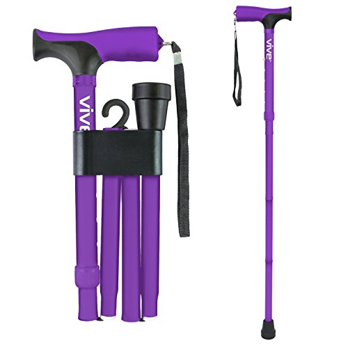 Vive Folding Cane - Foldable Walking Cane for Men, Women - Fold-up, Collapsible, Lightweight, Adjustable, Portable Hand Walking Stick - Balancing Mobility Aid - Sleek, Comfortable T Handles (Purple)