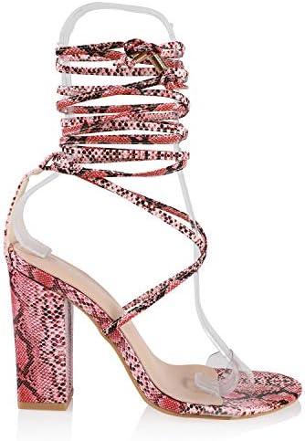 JSUN7 Women's Fashion Lace Wrap Open Round Toe Summer Chunky Block Elegant Heel Sandal Pump Shoe 2