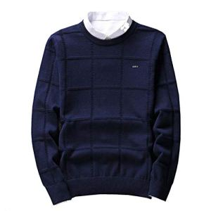 Spinning Solid Color Sweaters Men O Neck Pullover Men Check Knitwear Man Pull