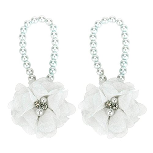 DZT1968® Baby Girl Pearl Chiffon Flower Foot Jewelry Shoes Barefoot Sandals (White)