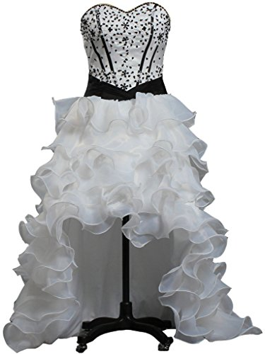 41TTFRS%2Bb0L High Low Wedding Dress Black and White Full Lined with bone, Inner Pad, Dry Clean Only.