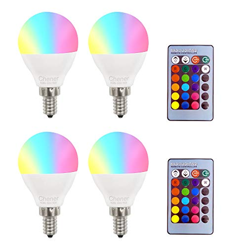 E12 4W RGB Magic LED Light Candelabra Bulb,4 Pack,16 Different Colors Changing Multi-Color LED Lamp with IR Remote Control for Home,Bar,Party,KTV, Mood Lighting,Chener