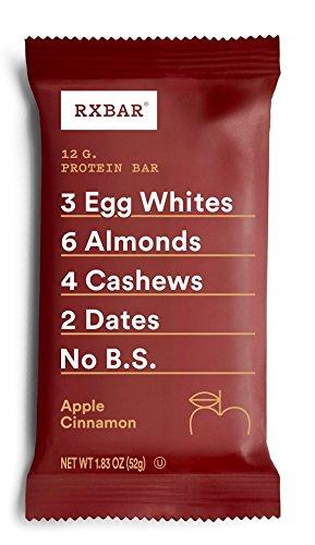 RXBAR Whole Food Protein Bar, Apple Cinnamon, Gluten Free, 1.83oz Bars, 12 Count