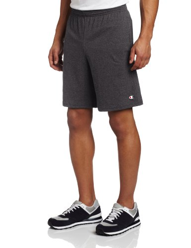 Champion Men's Jersey Short With Pockets, Granite Heather, Large