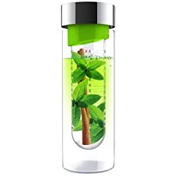 Asobu Flavour It Glass Water Bottle with Fruit Flavor Infuser Green/Silver New